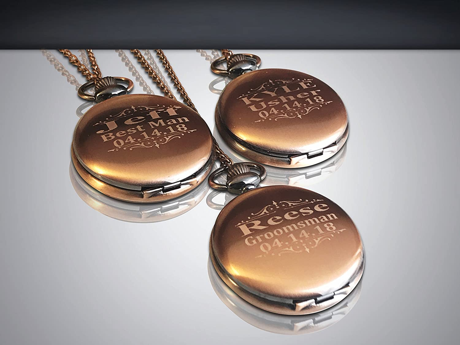 b663a8067 Amazon.com: 3 Pocket watches, Personalized Rose Gold Custom pocket watch  gift set of 3. Box included, Stainless chain and engraving is included.:  Handmade