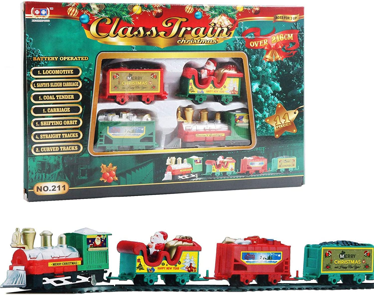 Luckybaby Christmas Train Set ,Christmas Train Set for Around The Tree ,Electric Train Track Toy with Light and Music, Train Toy Set for Kids