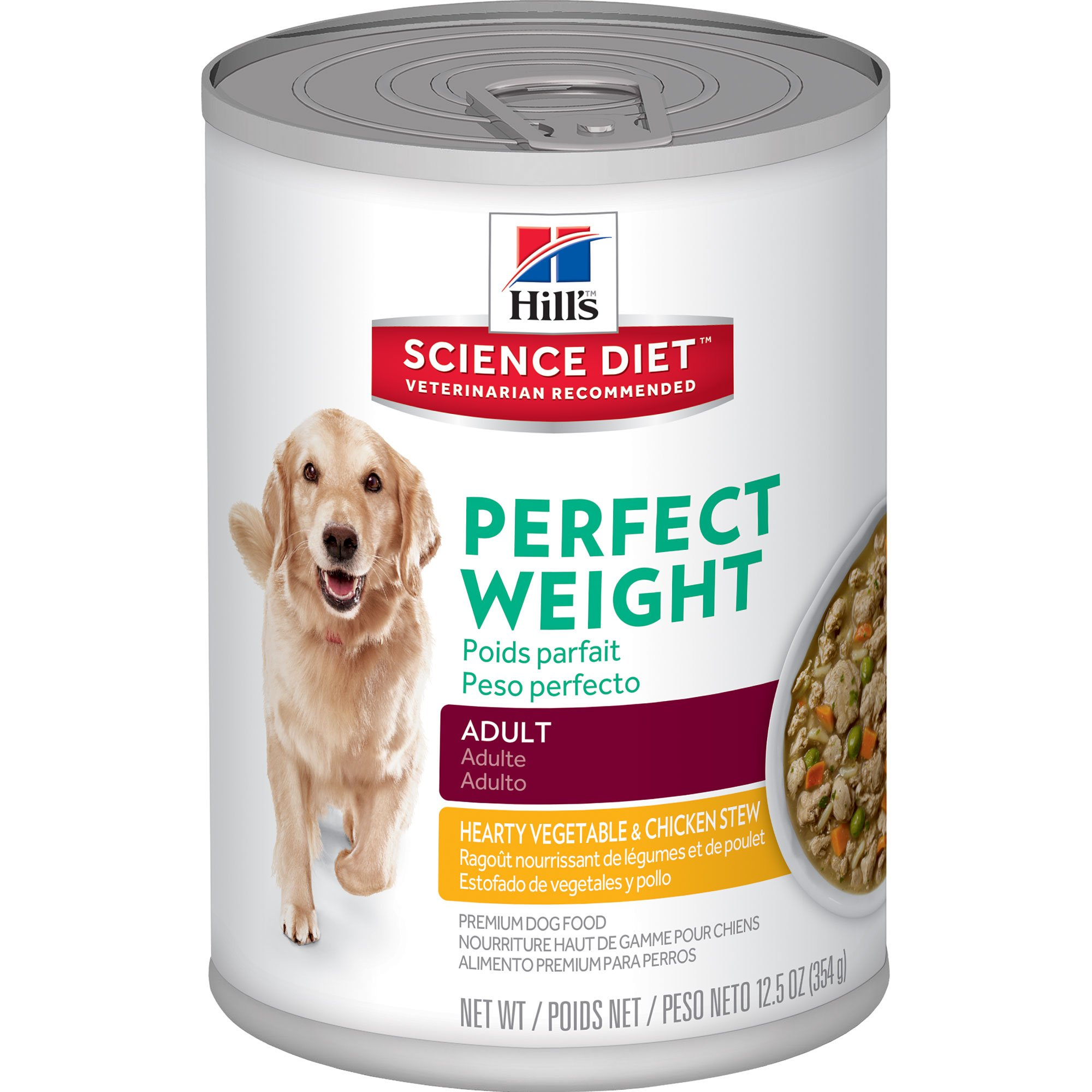 Hill's Science Diet Adult Perfect Weight Wet Dog Food, Hearty Vegetable & Chicken Stew Canned Dog Food for healthy weight and weight management, 12.5 oz, 12 Pack