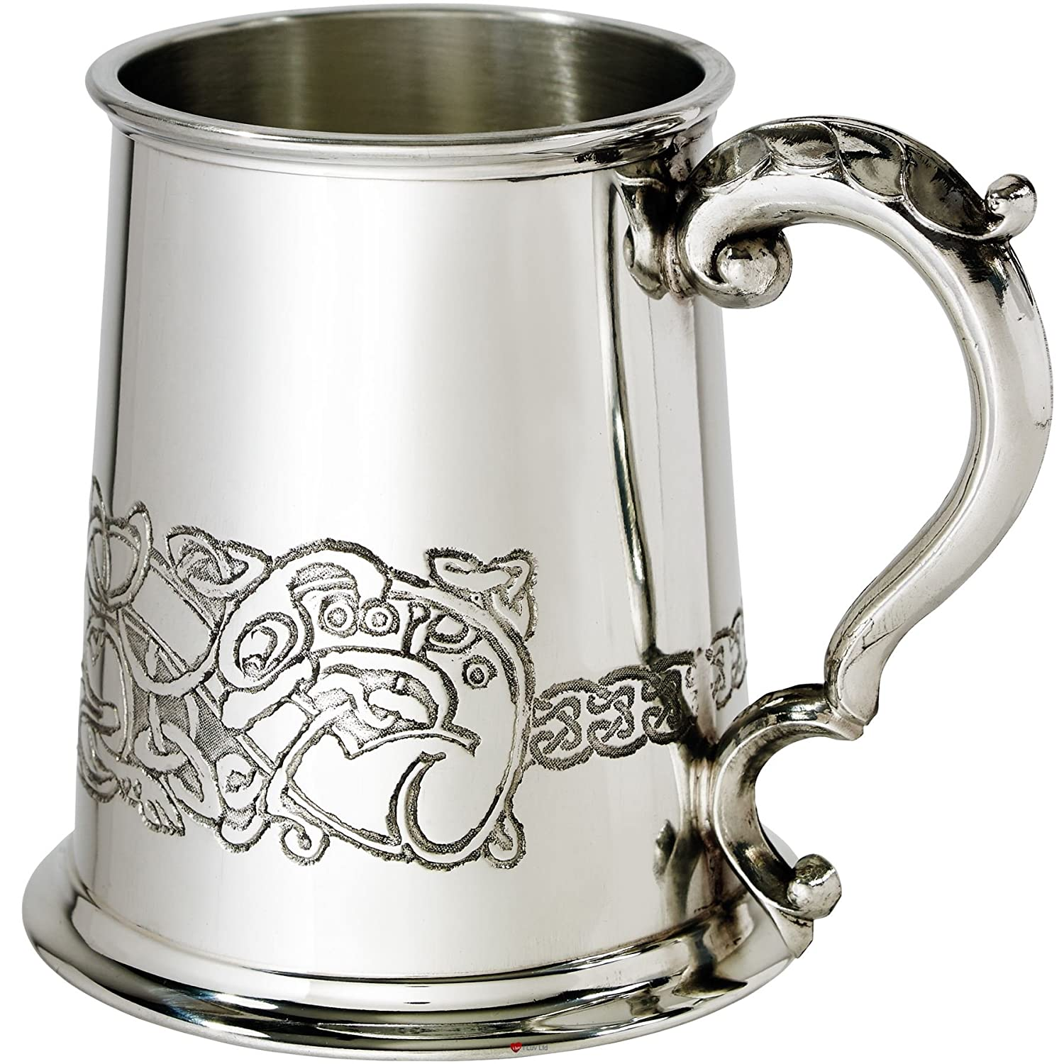 Pewter 1 Pint Tankard Celtic Dragon Fine English Pewter Ornate Handle Ideal For Engraving