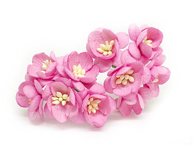 Amazon 1 pink cherry blossom flower artificial flowers paper 1quot pink cherry blossom flower artificial flowers paper flowers synthetic flowers fake flowers paper craft mightylinksfo