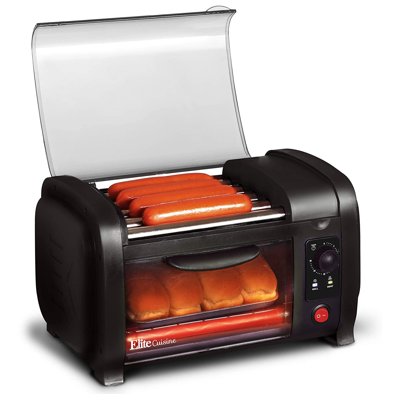 Elite Cuisine EHD-051B Hot Dog Toaster Oven, 30-Min Timer, Stainless Steel Heat Rollers Bake Crumb Tray, World Series Baseball, 4 Bun Capacity, Black