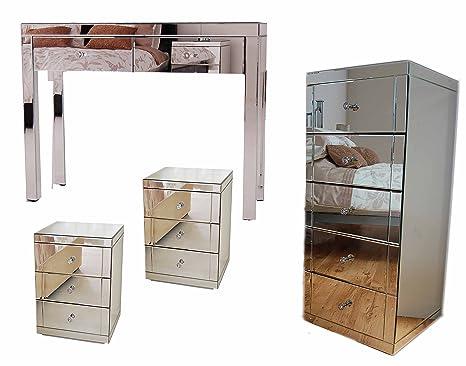 My-Furniture CHELSEA Set di Mobili a specchio: Console/Toletta + 2 ...