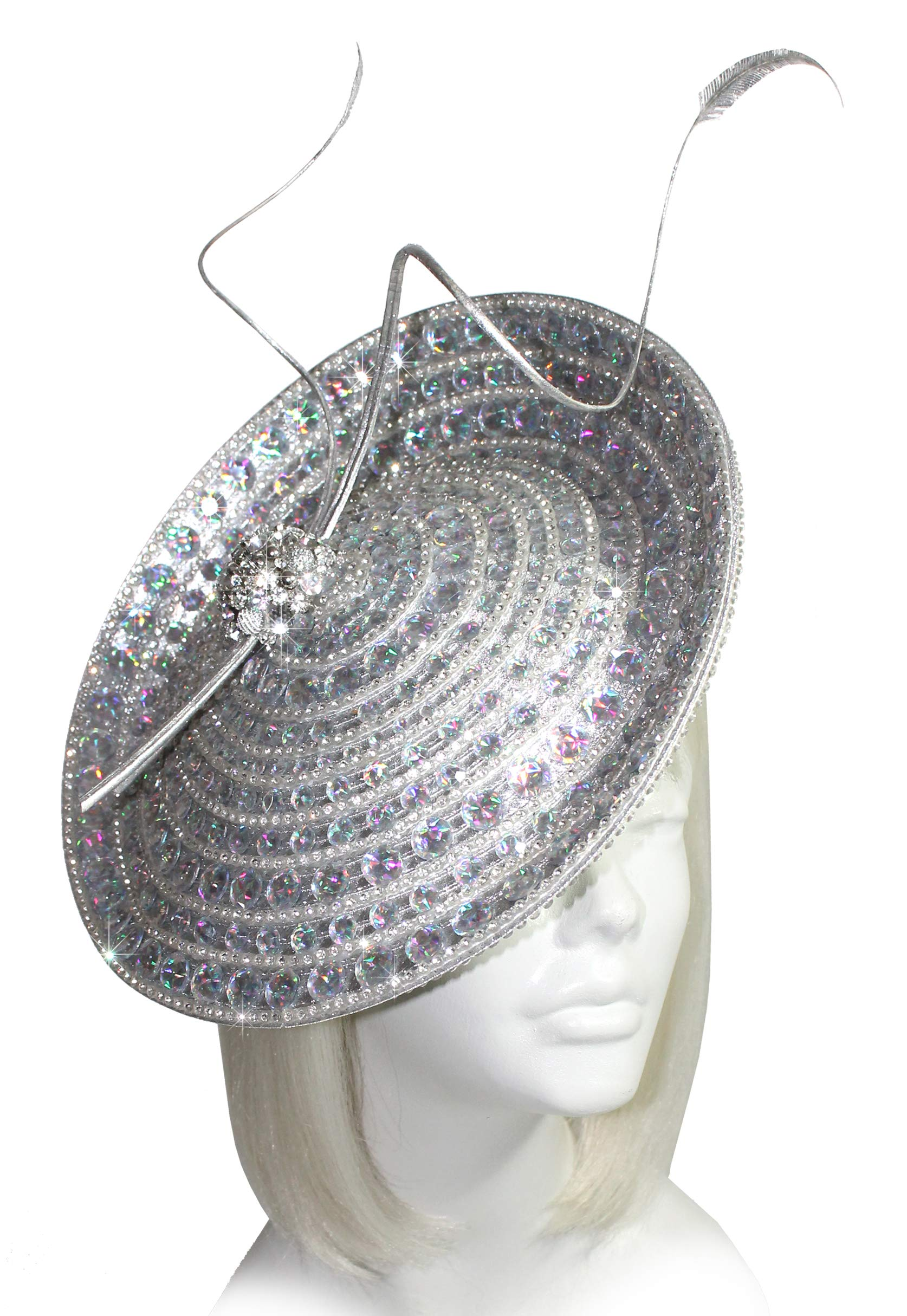 Mr. Song Millinery Kentucky Derby All-Season Cyrstal Rhinestone Profile Headband Fascinator - AF107 Silver Aurora Borealis