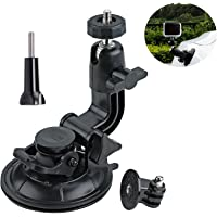 VVHOOY 360 Degrees Rotation Suction Cup Mount+Tripod Adapter+Universal Screw for Gopro Hero 6/5 Brave 4 4K Globmall Bopower B1W Campark ACT74 ACT76 Action Camera Car Windshield Mount