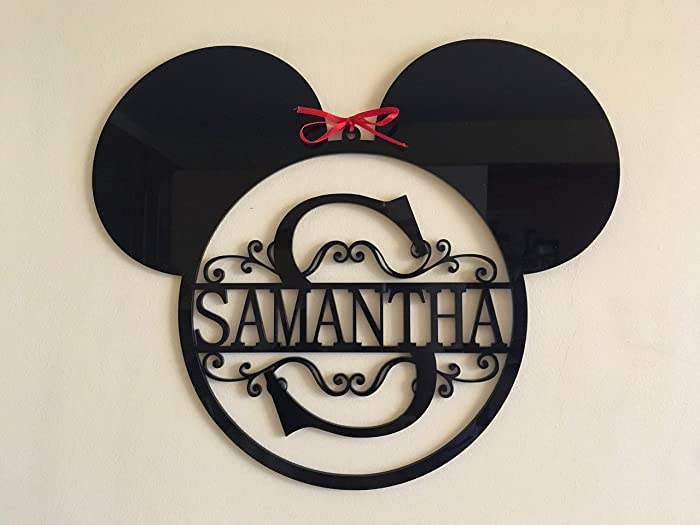 Mickey Mouse Head Monogram Personalized Name Acrylic Sign Split Letter Wall Door Hanger Custom Disney Wreath Nursery Decor Kids Bedroom Metal Hanging Signs Minnie Mouse Gift for Kids Birthday Present