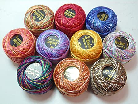 10 Variegated Cotton Thread Balls Assorted Colours Embroidery UK 20 x Anchor