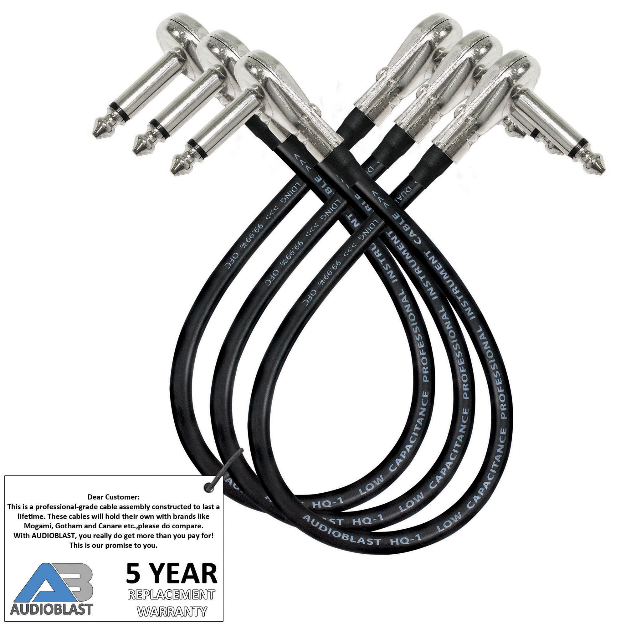 3 Units - 1.5 Foot - Audioblast HQ-1 - Ultra Flexible - Dual Shielded (100%) - Instrument Effects Pedal Patch Cable w/ ¼ inch (6.35mm) Low-Profile, R/A Pancake Type TS Connectors & Dual Staggered Boot by AUDIOBLAST