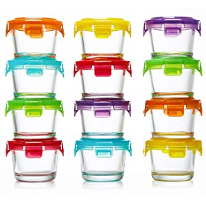 Glass Baby Food Storage Containers with Lids | Set of 12 | 4 oz Glass Food Containers | Freezer Storage | Reusable Small Glass Baby Food Containers | Microwave & Dishwasher Safe | for Infant & Babies