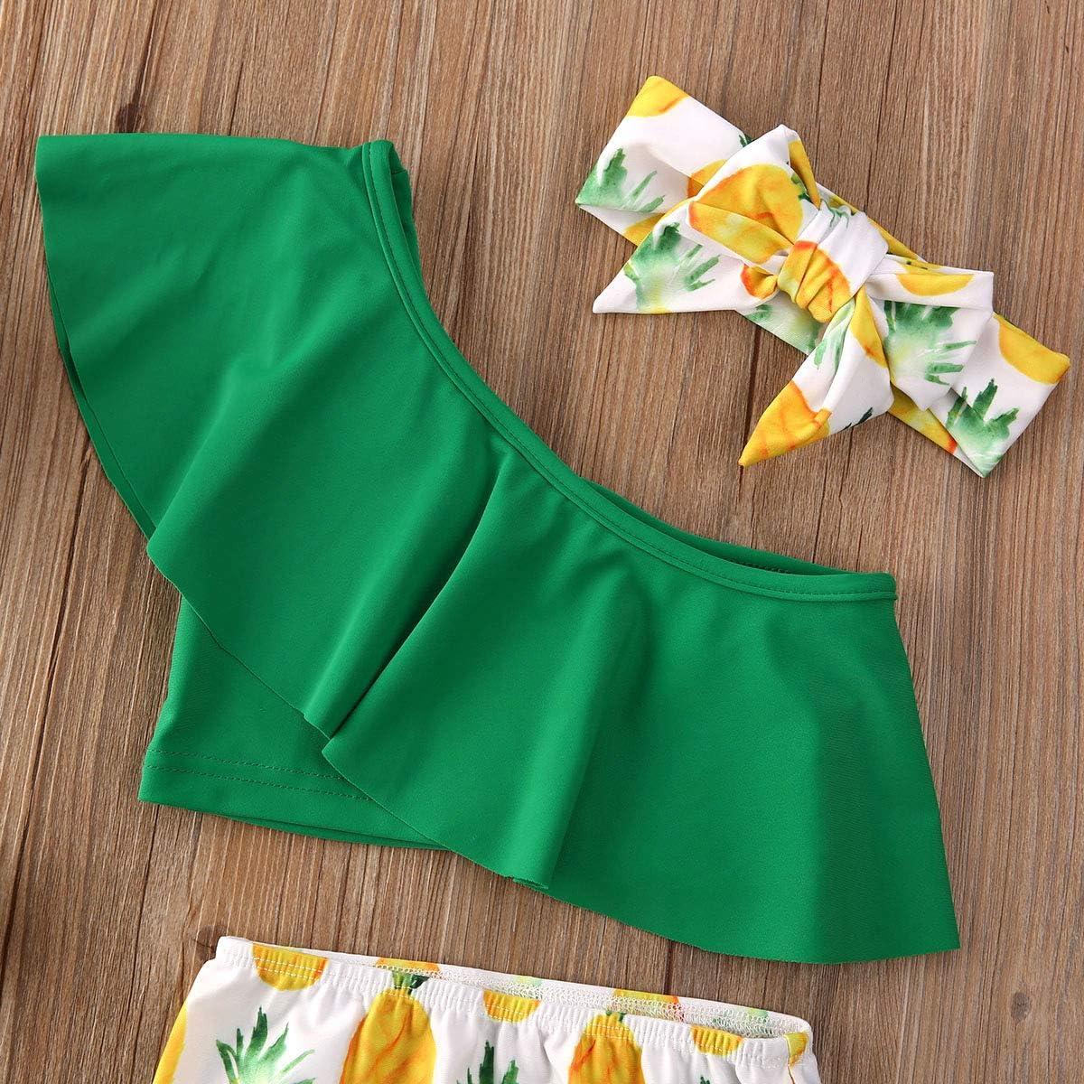 Ambabe Toddler Baby Girl Bikini Set One Shoulder Ruffle Top Pineapple Panties Headband Swimsuits Bathing Suits