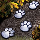 (Set/8) Solar Powered Dog Or Cat Paw Prints Outdoor Walkway Path LED Lights
