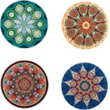 LogHog 4 pack/set, Bohemian Style Cup Holder Coffee Mug Mat Glass Place Coaster Absorbent Stone Coasters, porcelain and wood