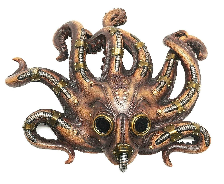 "Ebros Steampunk Kraken Octopus Soldier Mask Decorative Wall Plaque 11.25"" Tall Hanging Decor Figurine Victoria Sci Fi Fantasy Sculpture of Cephalopod Tentacles Aquatic Militia"