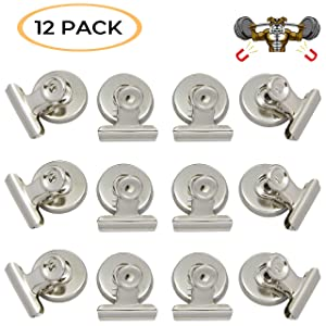 Strong Magnetic Clips –Heavy Duty Metal Refrigerator Fridge Bulldog Magnet Clips -Home Office Classroom Teachers -Whiteboard, Hanging Photos, Calendar, Chalkboard -Scratch Safe 12-Pack Large 31mm Wide