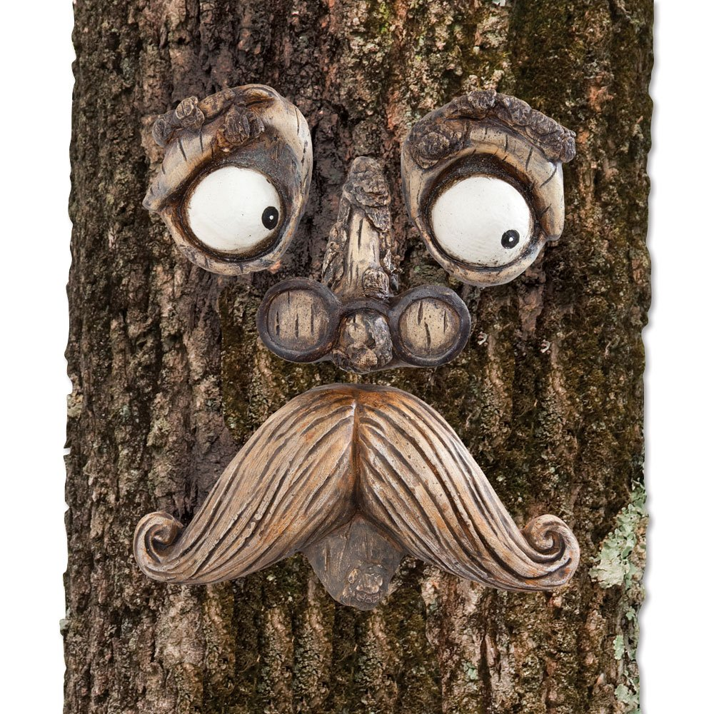 Bits and Pieces-Old Man Tree Hugger - Garden Peeker Yard Art - Outdoor Tree Hugger Sculpture Whimsical Tree Face Garden Decoration