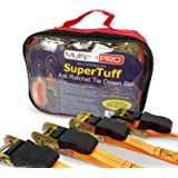 MultiplePRO SuperTuff 15ft Ratchet Tie Down Straps – 4 Pack with Heavy Duty 1,500 lbs Breaking Strength