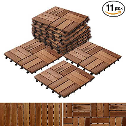 Acacia Wood Deck Tiles Composite Decking Flooring Patio Pavers Indoor And Outdoor Flooring Tiles Check Pattern 12 12 Pack Of 11 Tiles
