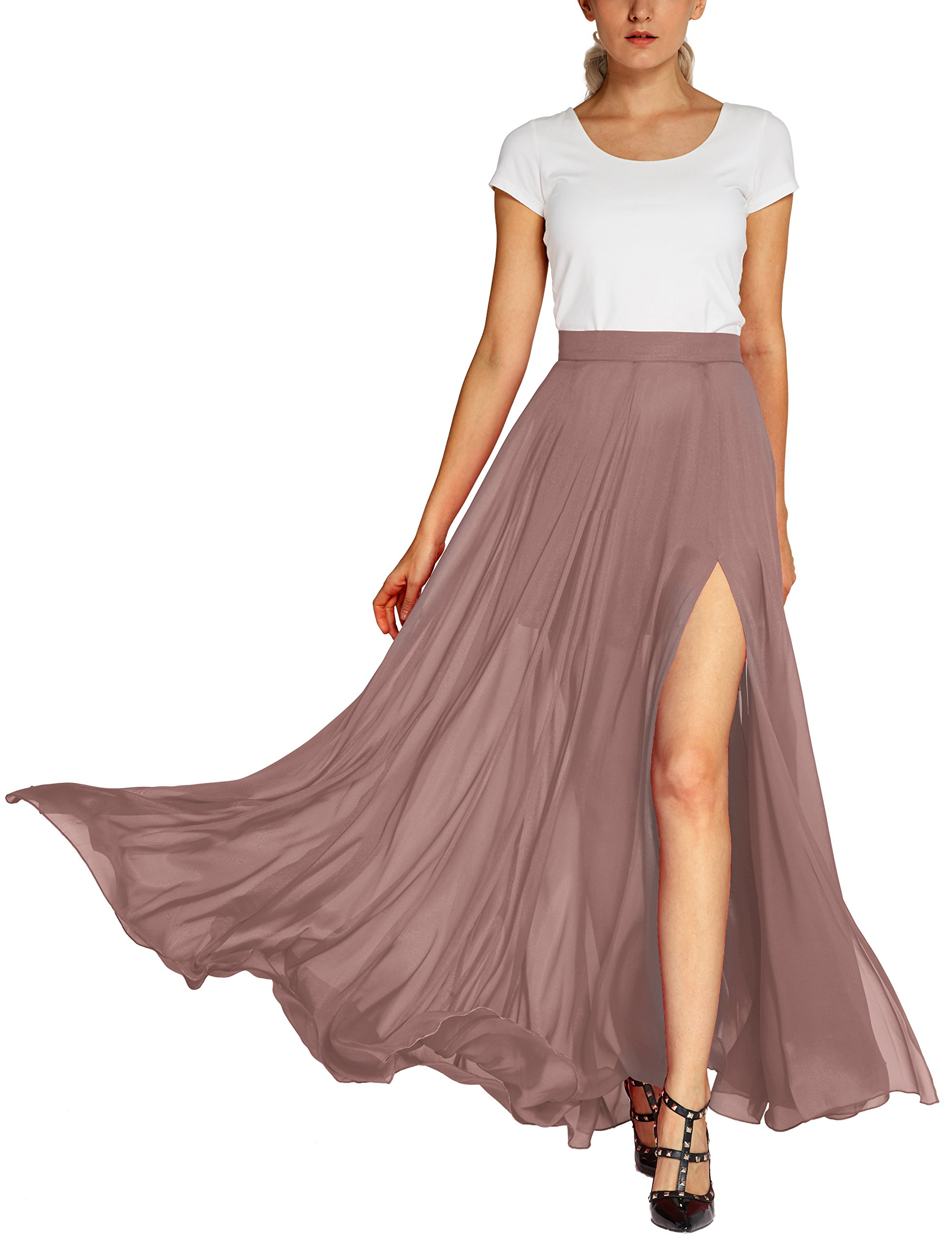 Urban CoCo Women's Fashion Solid Color Flowy Split Long Maxi Skirt (L, Nude Pink)