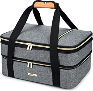 BABEYER Double Decker Insulated Casserole Carrier For Hot or Cold Food, Expandable Insulated Food Carrier for Picnic, Potluck, Party, Beach, Cookouts, Fits 9