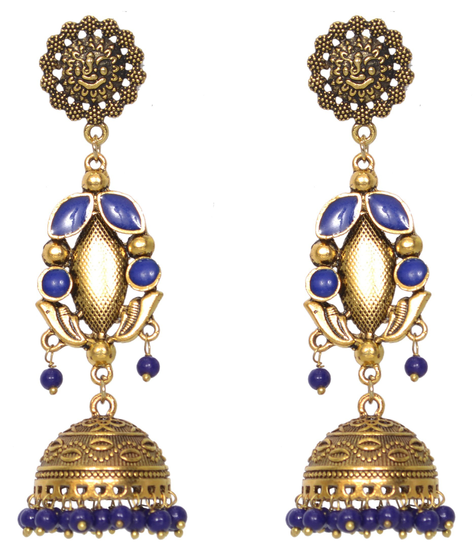 Sansar India Oxidized Stud Long Jhumka Indian Earrings Jewelry for Girls and Women 1192