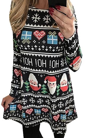 Scothen Vestido de cóctel de Navidad de manga larga para mujer Vestido de fiesta festivo de muñeco de nieve Vestido de fiesta de una línea Vestido de Santa ...