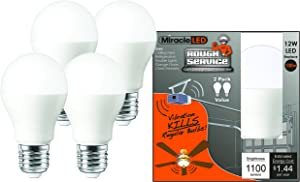 MiracleLED 604016 Rough Service Long Life Harsh-Environment Bulb, Replaces 100W, Cool White, 4-Pack,