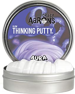 """product image for Crazy Aaron's Thinking Putty 4"""" Tin - Aura - Glow-in-The-Dark Putty, Firm Texture - Non-Toxic, Never Dries Out"""