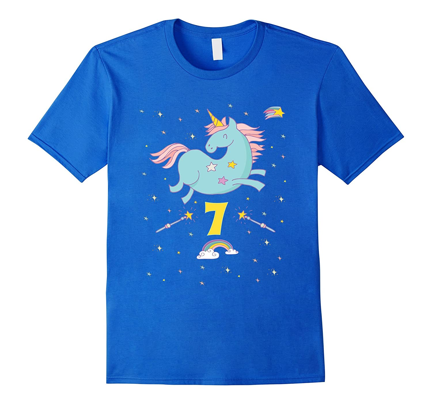 Unicorn Rainbow Birthday Shirt 7 Seven Year Old Girl Boy PJ CD