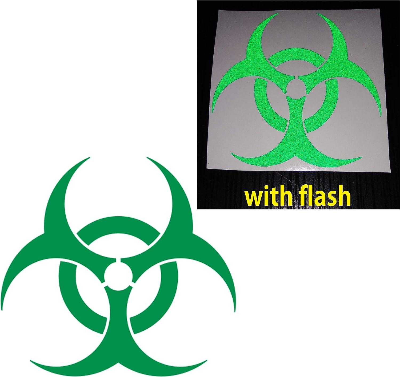 "CUSHYSTORE Green 3"" Bio Hazard Bio-Hazard Biohazard Reflective Decal Sticker Vinyl for Car Hardhat, 2 Packs"