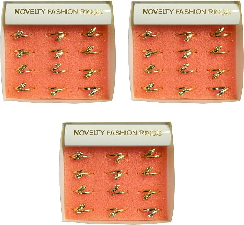 Pack 36 anillos serpiente dorado joyas joyería accesorio moda: Amazon.es: Joyería