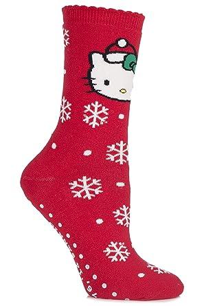 835355901 Pretty Polly Hello Kitty Snowflake Slipper Sock One Size Red: Amazon ...