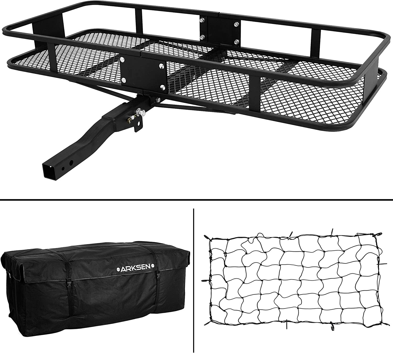 Black 500LBS Capacity Camp Travel Fold Up SUV Camping ARKSEN Folding Cargo Carrier Luggage Basket 2 Receiver Hitch Mount 60 x 20 inch