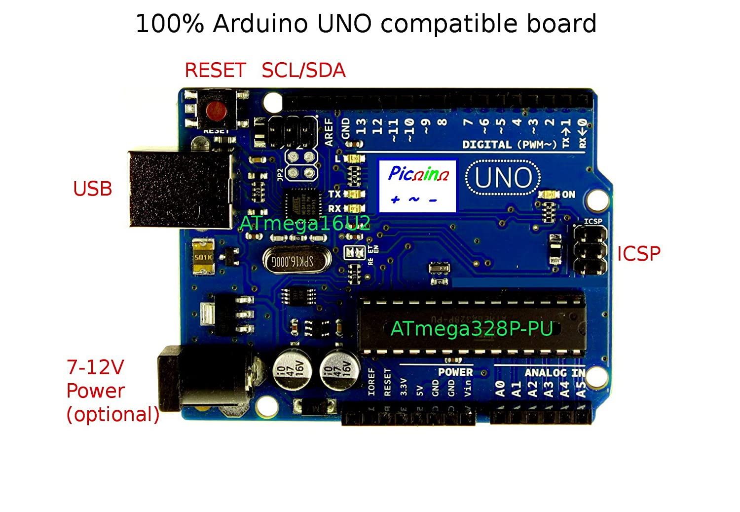Picoino 100 Arduino Uno R3 Compatible High Quality Atmega328p 16u2 Dip Usb Cable Programming Board Version With Pu Free Cord And Base Computers