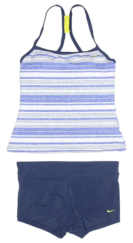 bluee Heather White Navy Nike Women's Tankini Athletic TwoPiece Swimsuit