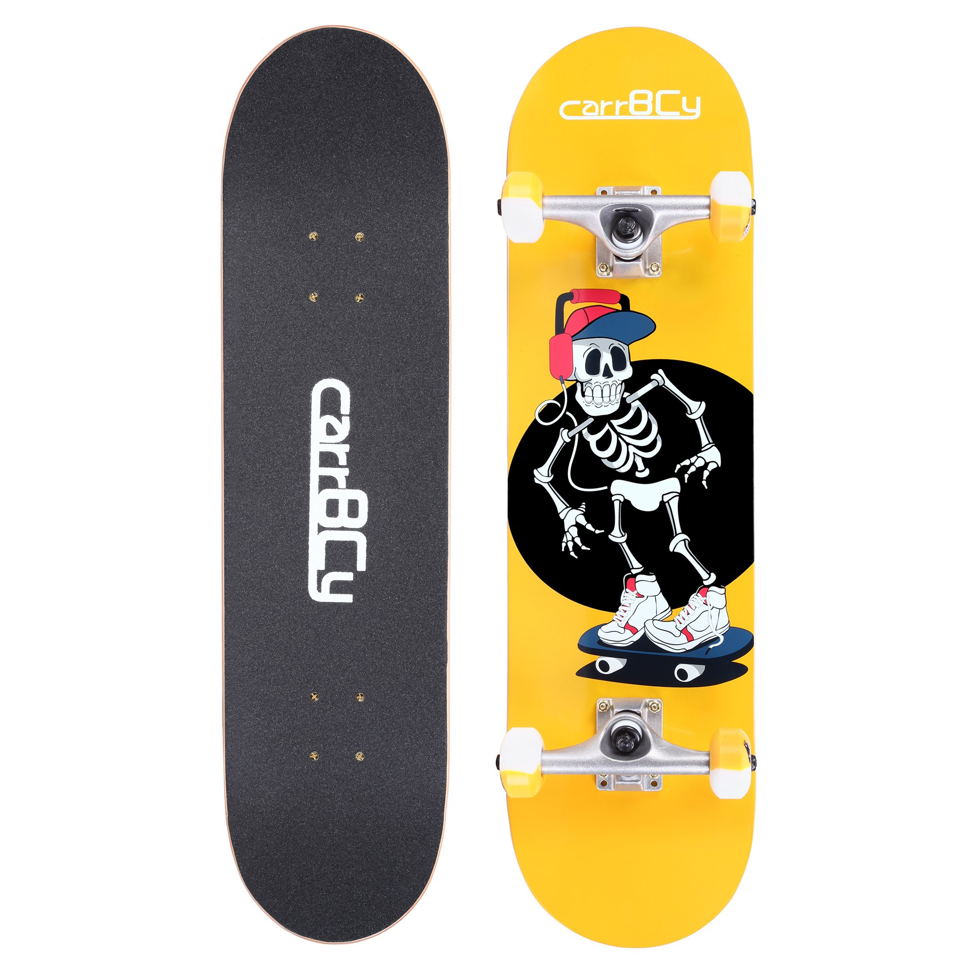 Skateboards, carryBC 31'' Pro Complete Skateboard, 7 Layer Canadian Maple Skateboard Deck for Extreme Sports and Outdoors, Evening Light Powder Skeleton Skating Board, Yellow by carryBC