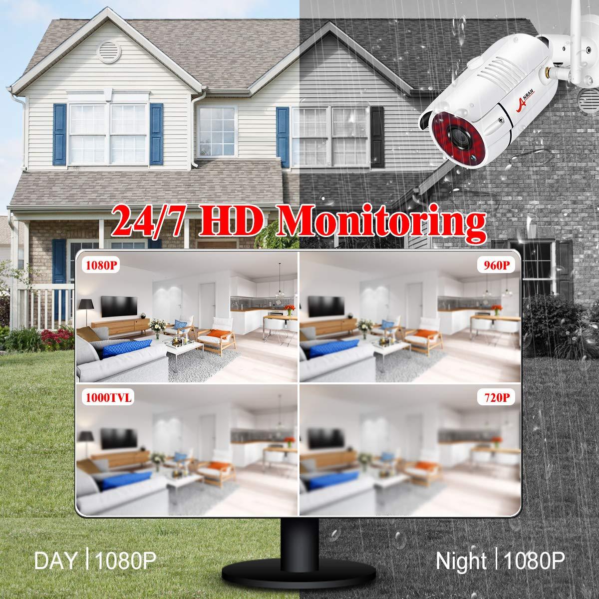 1TB HDD Detcci/ón de Movimiento 4CH Kit C/ámaras de Vigilancia WiFi Exterior ANRAN 1080P Sistema de Vigilancia WiFi NVR 4CH 4 C/ámaras de Seguridad para Sistema CCTV Inal/ámbrico Visi/ón Nocturna