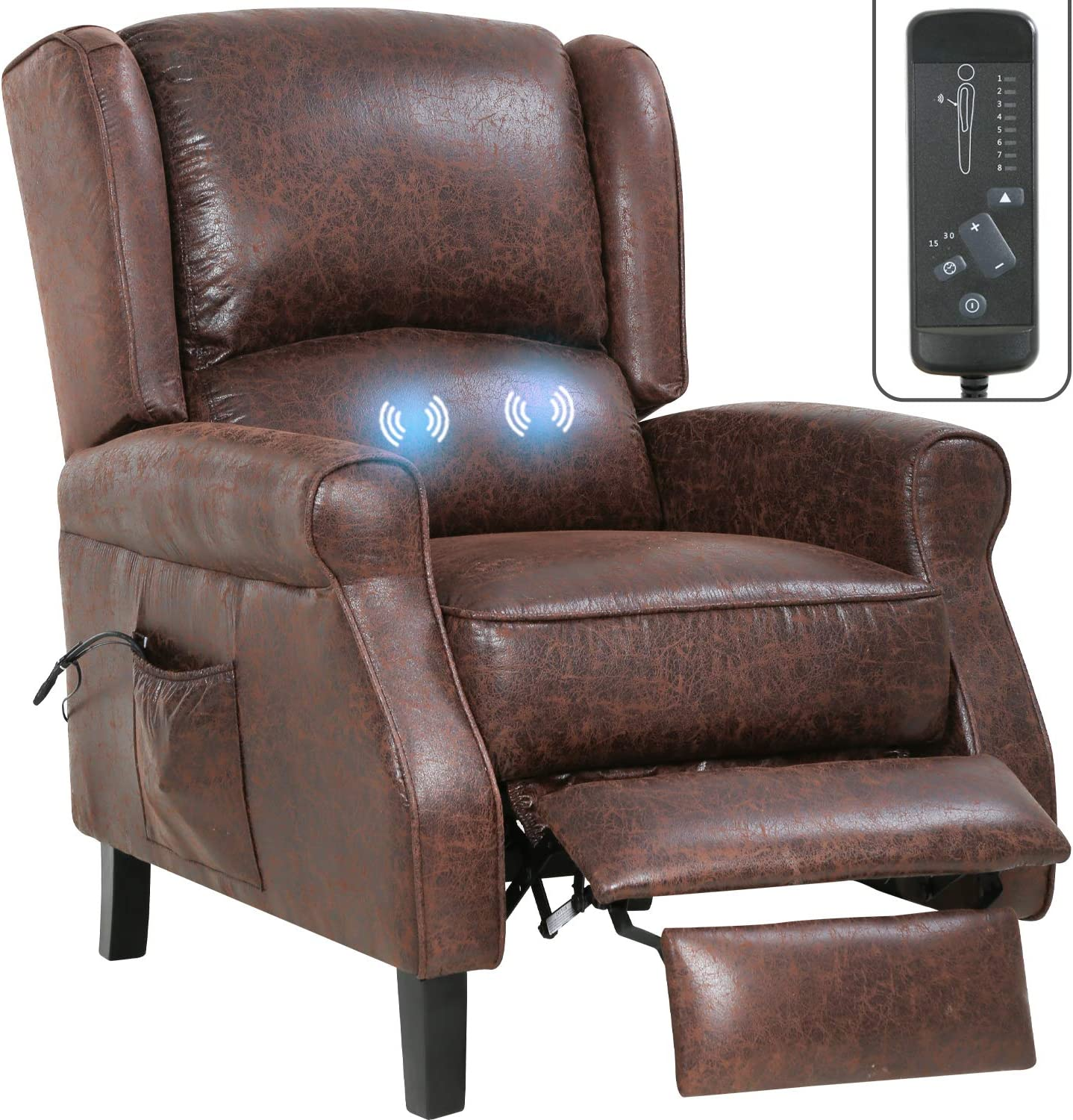 Recliner Chair for Living Room Massage Recliner Sofa Reading Chair Winback Single Sofa Reclining Chair Home Theater Seating Modern Easy Lounge with Fabric (Brown)