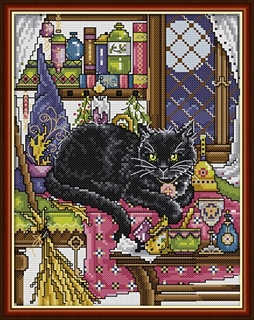Yeesam Art - Kit de punto de cruz para bordar, diseño de familia de gatos, Cat B, Stamped: Amazon.es: Hogar