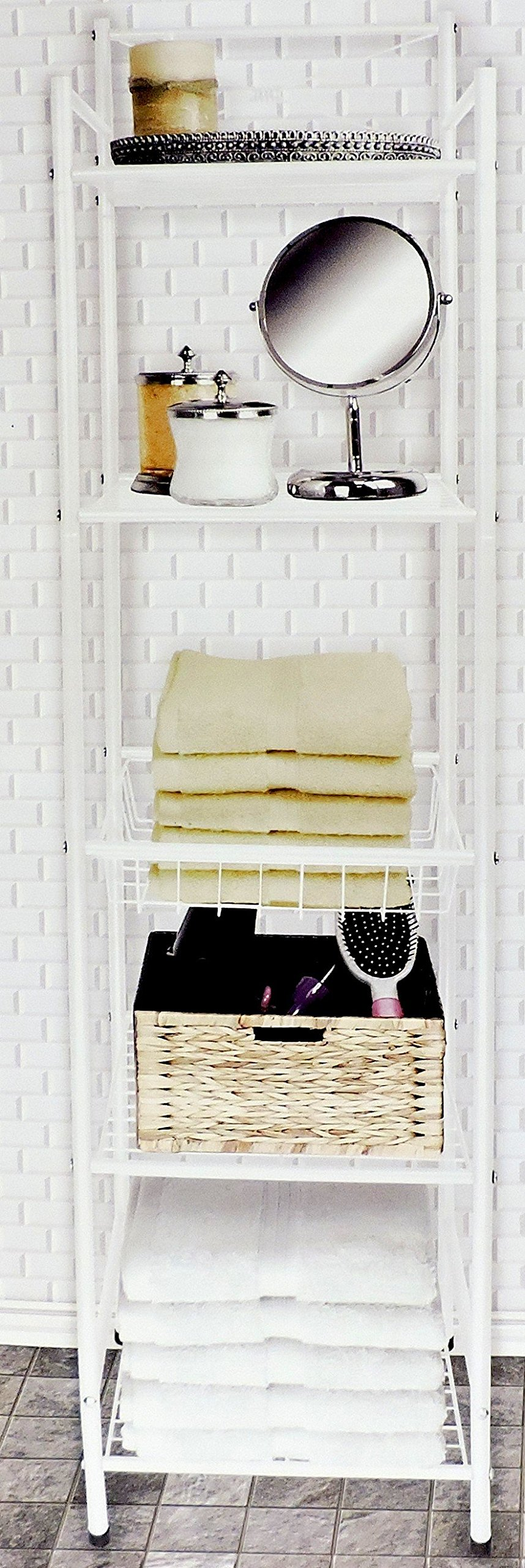 DINY Home & Style Deluxe Spa Tower 5 Tier Towel & Bathroom Accessory Rack White