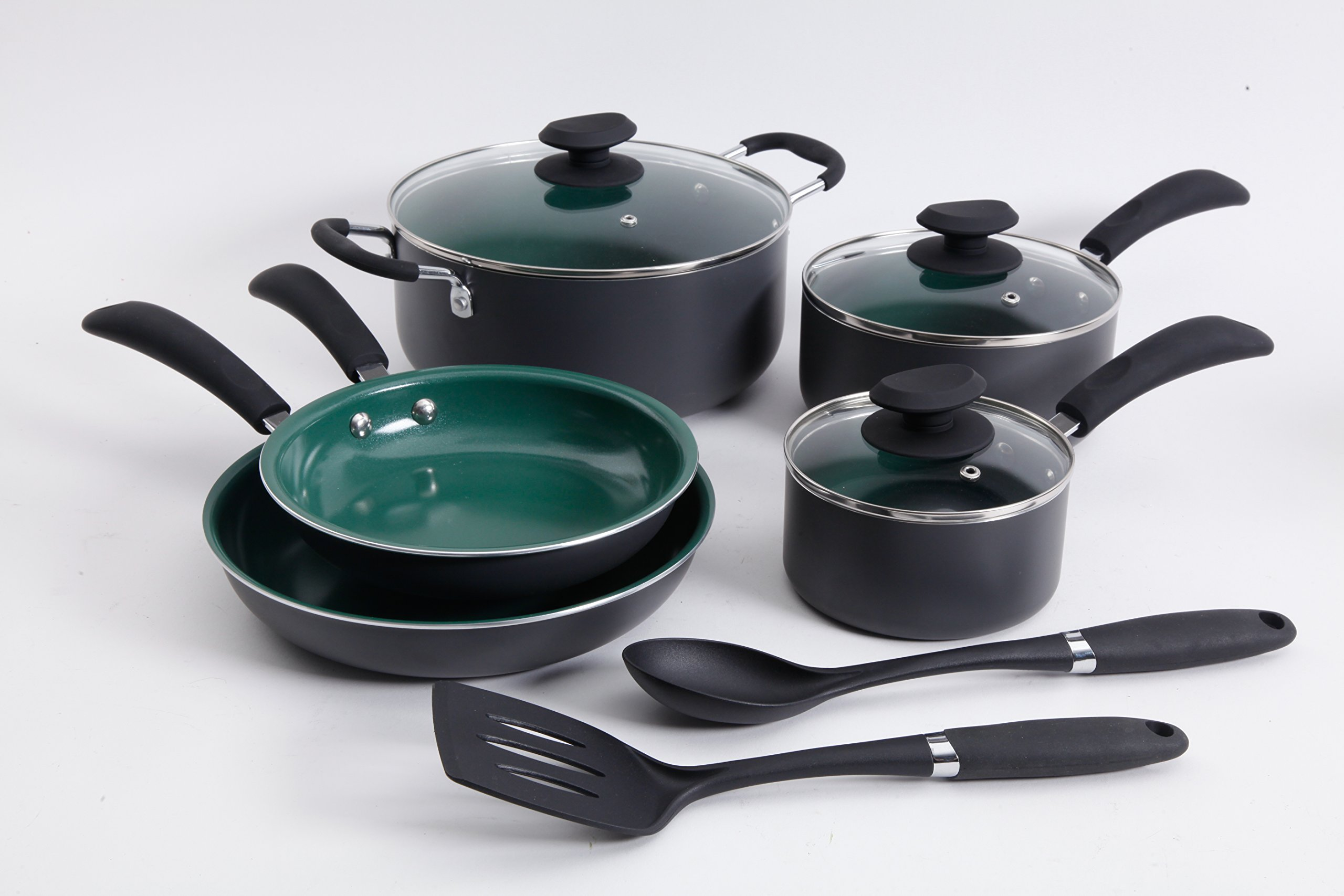 Gibson Home 109449.10 Eco-Friendly Hummington Aluminum Cookware Set Charcoal exteriors with Ceramic Non-Stick Interiors, Green
