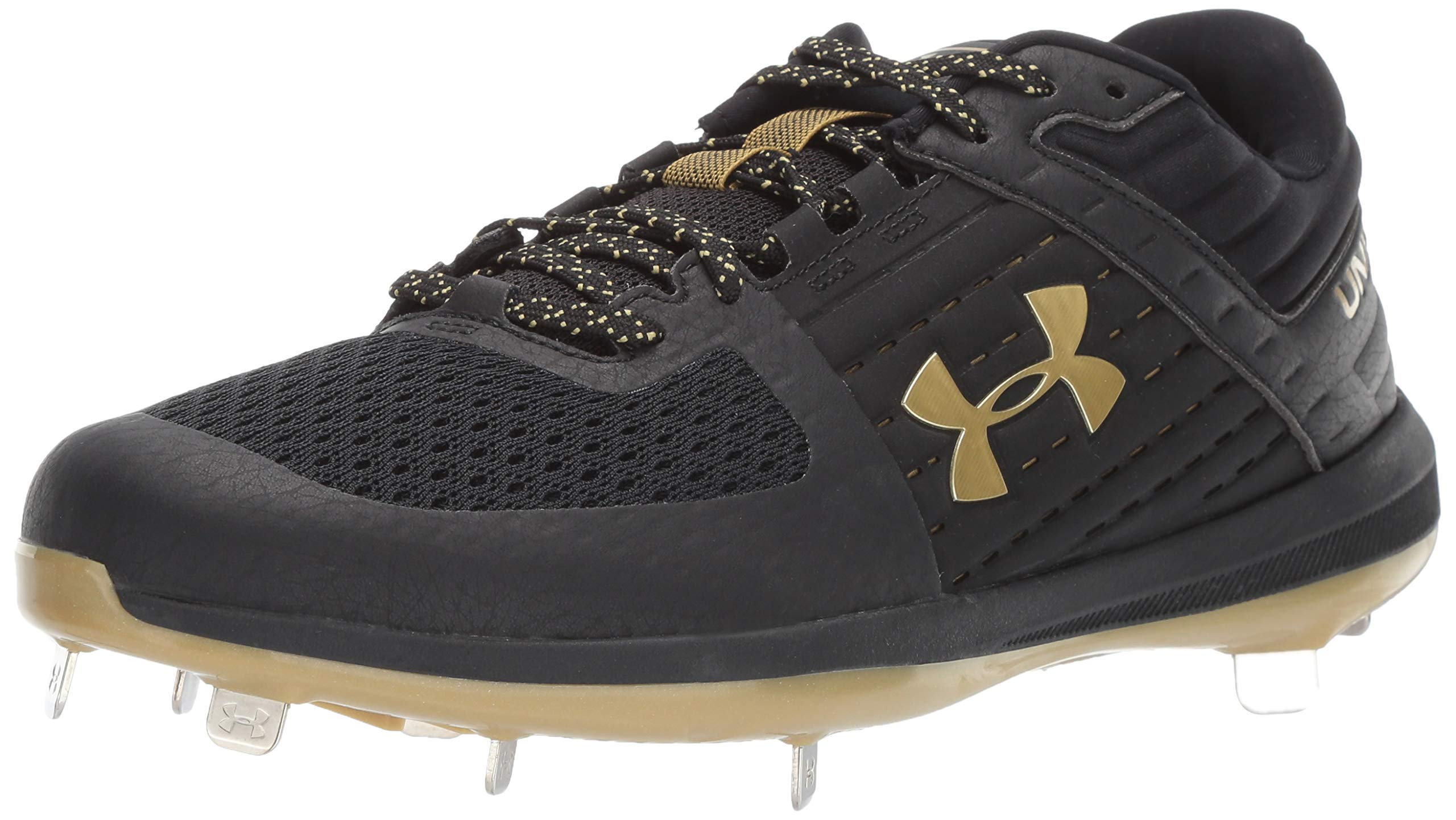 Under Armour Men's Yard Low ST Baseball Shoe, Black (004)/Metallic Gold, 7 by Under Armour