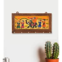 JaipurCrafts Wooden Rajasthani Art Work 6 Hook Hanging Key Holder - Brown (12 x 6 in)
