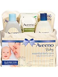 Aveeno Baby Essential Daily Care Baby & Mommy Gift Set featuring a Variety of Skin Care and Bath Products to Nourish Baby...