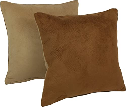 Blazing Needles Solid Faux Suede Square Throw Pillows Set of 2 , 18 , Tan Saddle Brown