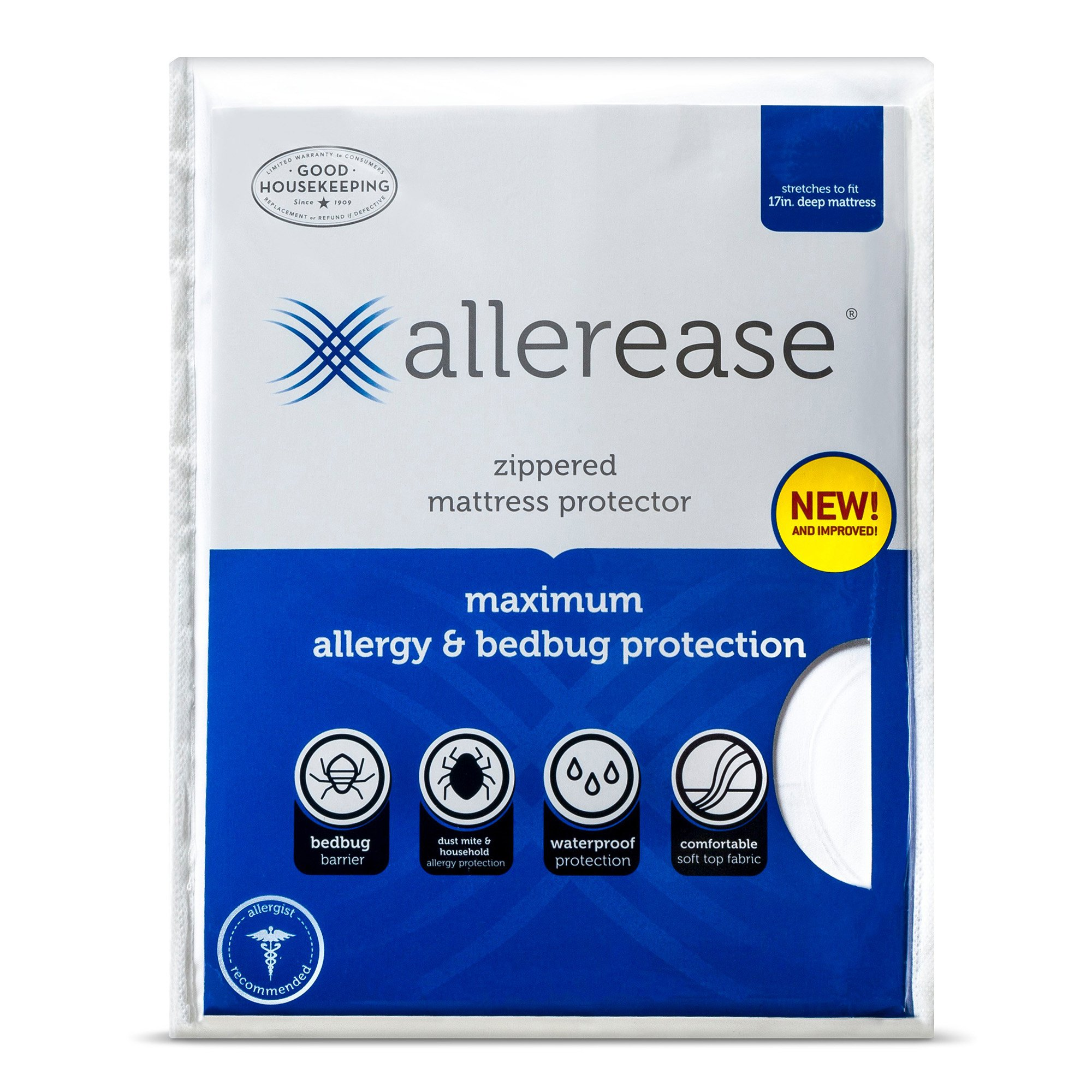 AllerEase Maximum Allergy and Bed Bug Waterproof Zippered Mattress Protector - Allergist Recommended to Prevent Collection of Dust Mites and Other Allergens, Vinyl Free & Hypoallergenic, Queen Sized by Aller-Ease