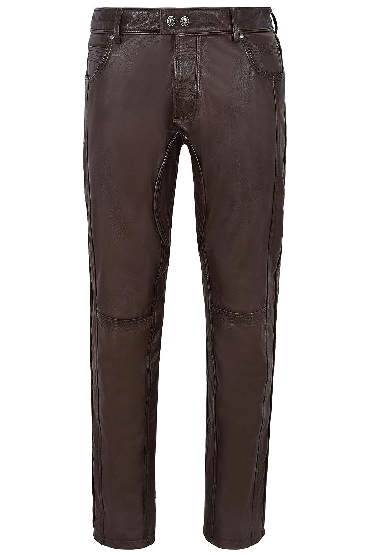 Smart Range Pantalones de Cuero para Hombre Marrón Pantalones de Estilo Slim Designer Slim Fit para Mujer 4669