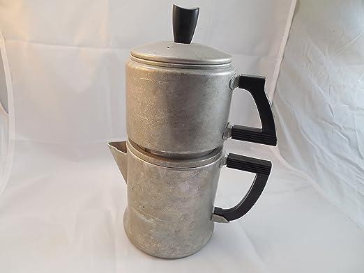 Cafetera de goteo de wear-Ever primitiva decoración # 3044 Estados Unidos 4 de aluminio taza Vintage envejecido: Amazon.es: Hogar