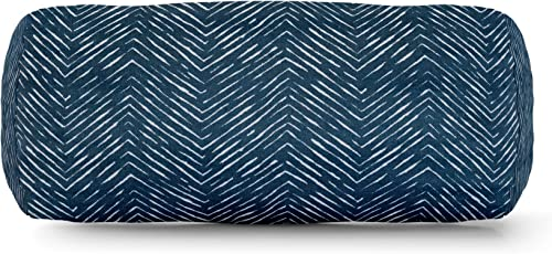 Majestic Home Goods Navy South West Indoor Outdoor Round Bolster Pillow 18.5 L x 8 W x 8 H