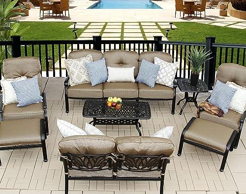 theWorldofpatio Elizabeth Cast Aluminum Powder Coated 9pc Outdoor Patio Sofa Deep Seating Chat Set
