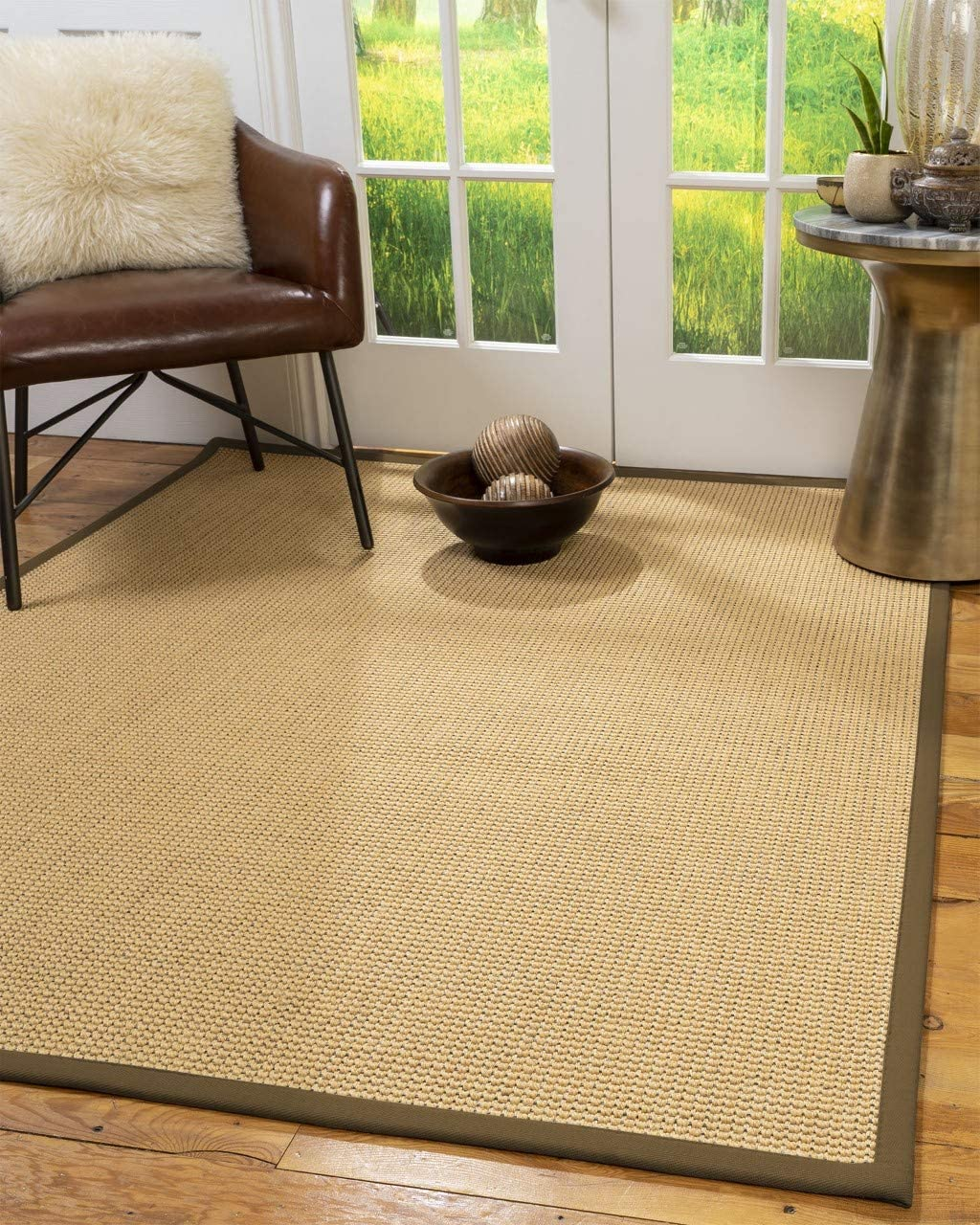 Natural Area Rugs 100 Natural Fiber Handmade Dubai, Beige Sisal Rug, 9 x 12 Malt Border